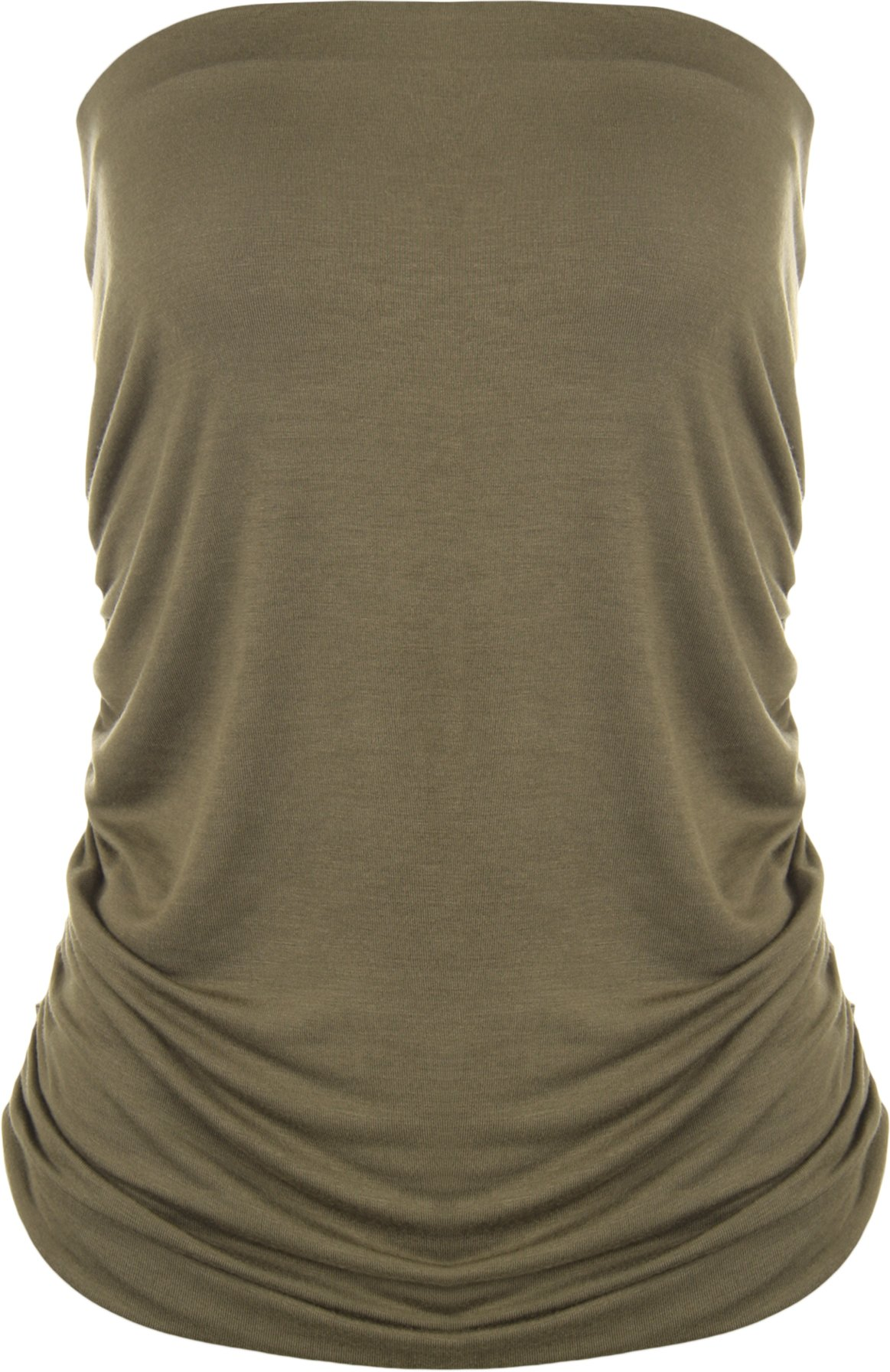 WearAll Plus Size Plain Bandeau Top - Khaki - US 20-22 (UK 24-26)