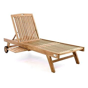 DIVERO GL05650 Sonnenliege Gartenliege Relaxliege Liege Holzliege Teak Holz  Mit Tablett Für Garten Terrasse Balkon Sauna