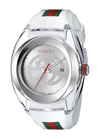 e00d3576beb Amazon.com  Gucci SYNC XXL White Rubber Strap 46mm Unisex Watch YA137102   Watches