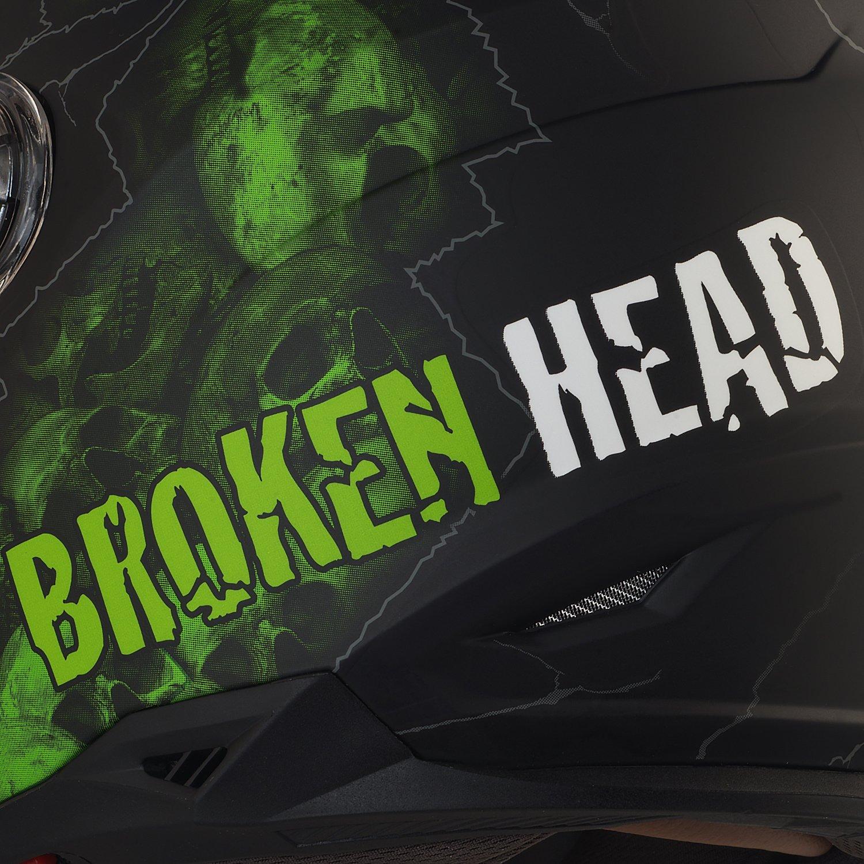 Motorradhelm Mit Sonnenblende Broken Head Broken Skull Gr/ö/ße L 59-60 cm Integral-Helm In Schwarz /& Gr/ün