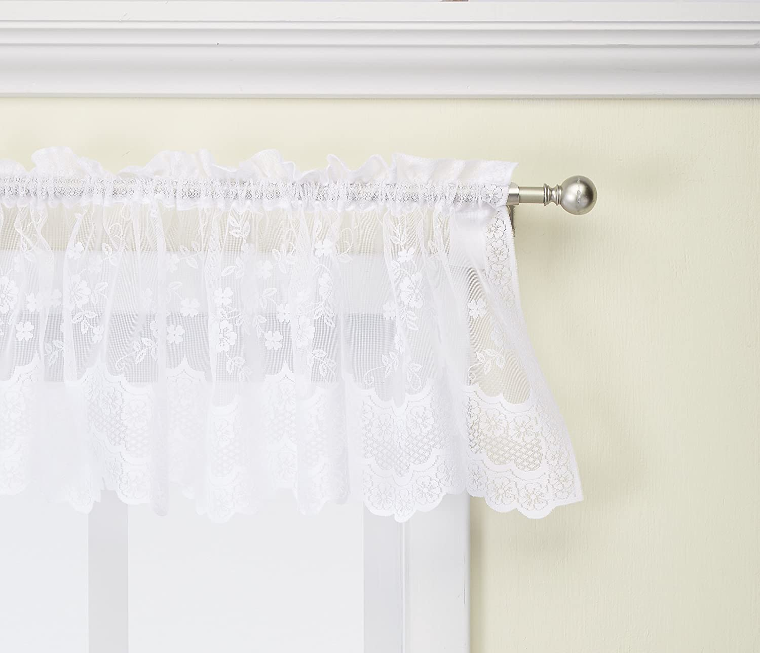 Commonwealth Home Fashions Mona Lisa Jacquard Scalloped Lace Valance, 56 x 15 White