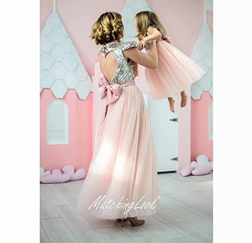 e6b07e8be1 Amazon.com: Mother Daughter Matching Dresses Gold Peach Outfits, Matching Mother  Daughter Tutu Dresses, Mommy and Me Maxi Tutu, Open Heart back dress: ...