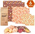Beeswax Wraps 6 Packs Reusable Food Wraps Eco Friendly, Sustainable Reusable Paper Food Wraps- 2 Small, 2 Medium, 2 Large-for Sandwich, Cheese, Fruit, Bread, Snacks