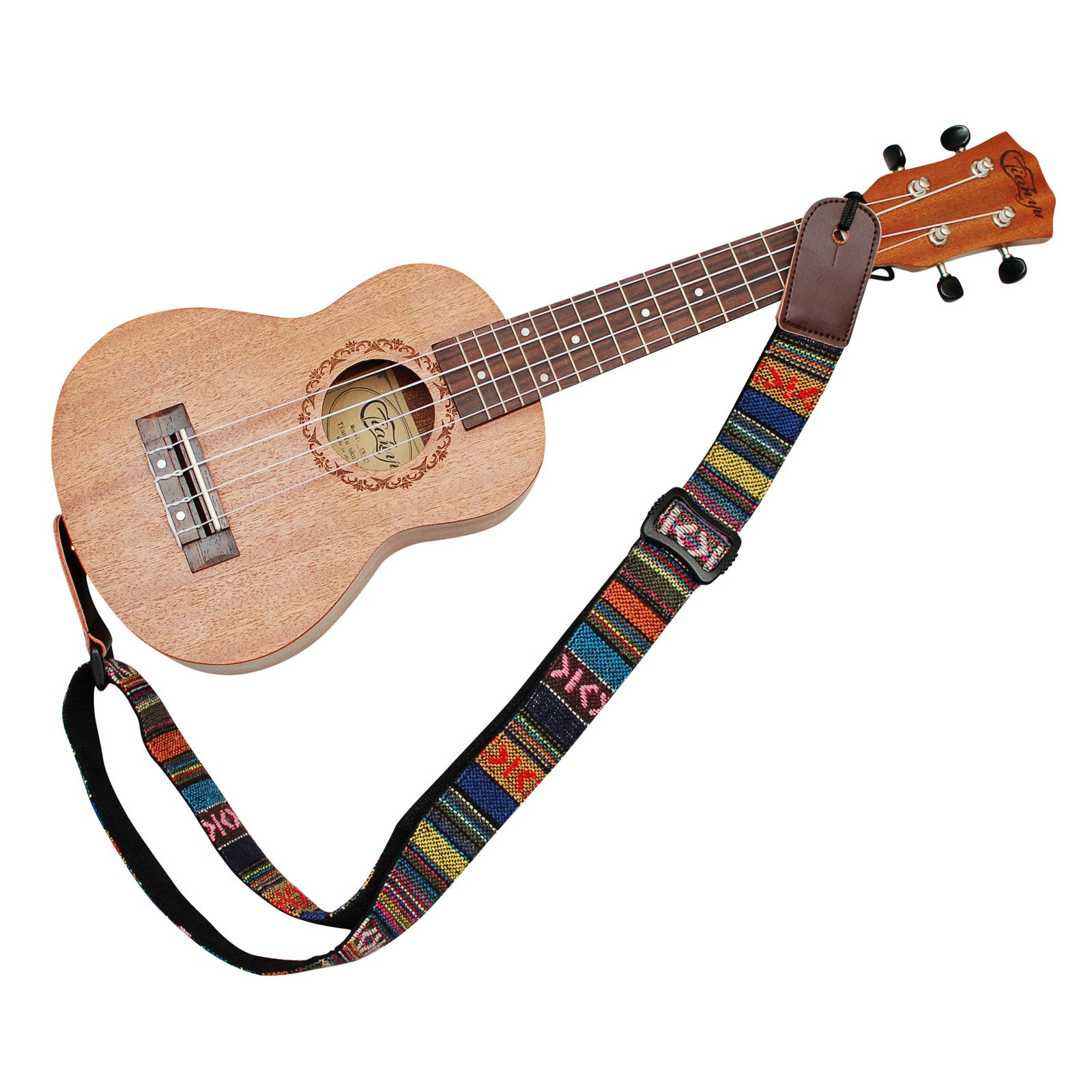 MUSIC FIRST Classic Country style Soft Cotton & Genuine Leather Ukulele Strap Ukulele Shoulder Strap Version 2.0