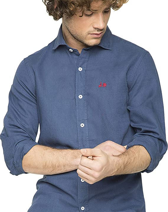 Scotta 1985 – Camisa Lino Regular Fit Azul Marino, Tendencia, Exclusivo para Hombre: Amazon.es: Ropa y accesorios