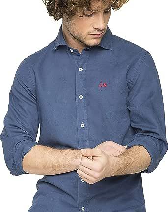 Scotta 1985 – Camisa Lino Regular Fit Azul Marino, Tendencia, Exclusivo para Hombre: Amazon.es: Ropa y accesorios