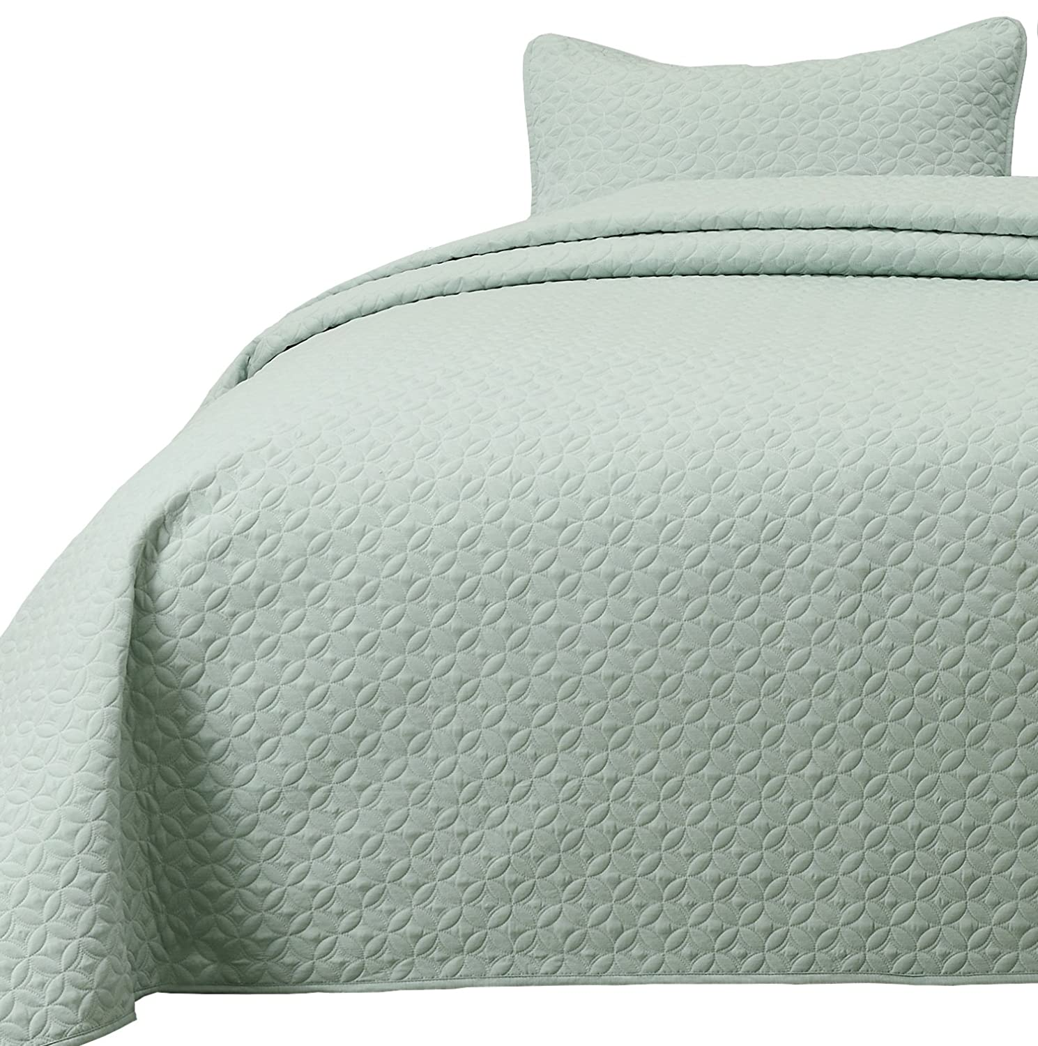 Cozy Beddings Allyson 2pc Quilted Bedspread Thin Extra Light Weight and Oversized Coverlet Twin//Twin XL Size Bed Aqua Green