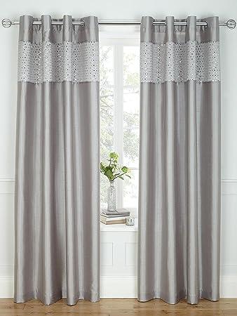 Glitz Sequin Eyelet Curtains [Single curtain width - 168 cm (66 ...