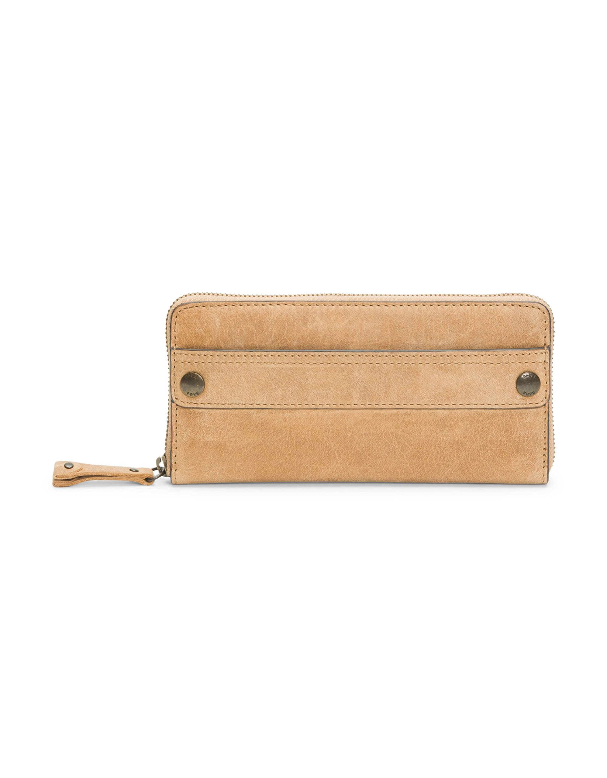 FRYE Melissa Zip Around Leather Wallet, Beige