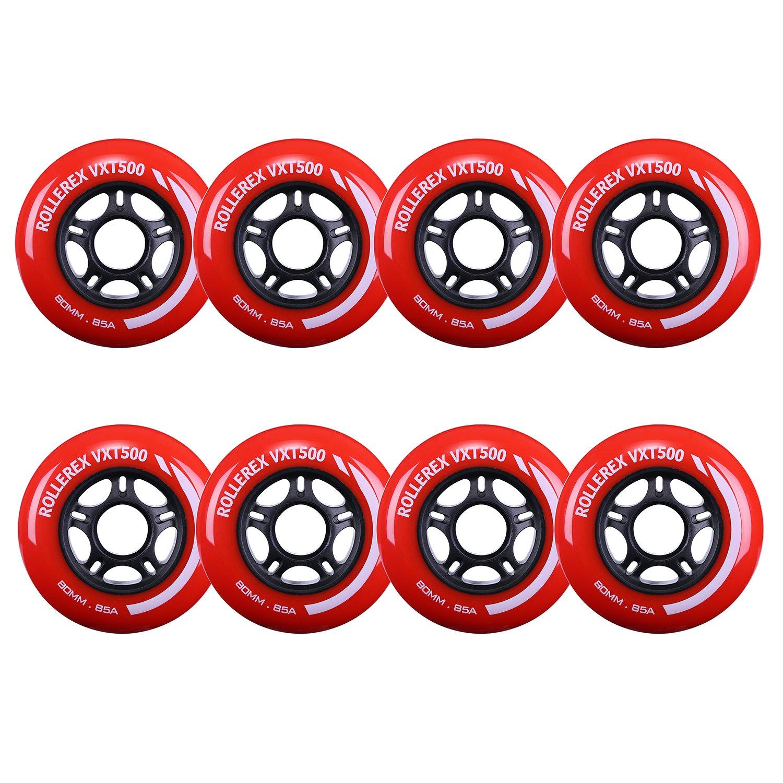 Rollerex VXT500 Inline Skate Wheels (8-Pack) (Rocket Red, 80mm) by Rollerex
