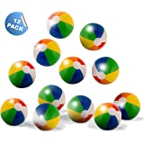 "Neliblu 12"" Classic Inflatable Rainbow Beach Balls - Pool Party Favors - Beach Toys - Party Pack - Bulk Beach Balls By (1 Dozen)"