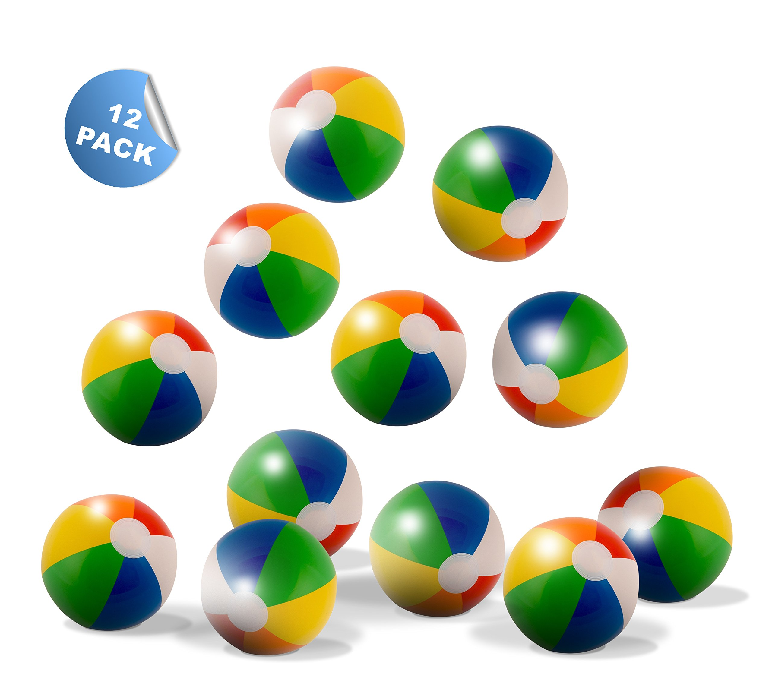 Neliblu 16'' Classic Inflatable Rainbow Beach Balls - Pool Party Favors - Beach and Pool Toys - Party Pack - Bulk Beach Balls (1 Dozen) By by Neliblu