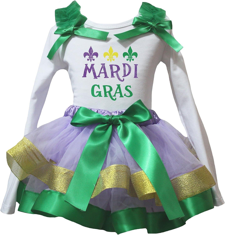 Petitebella My 1st Dress White Shirt Gold Green Lavender Petal Skirt Nb-8y