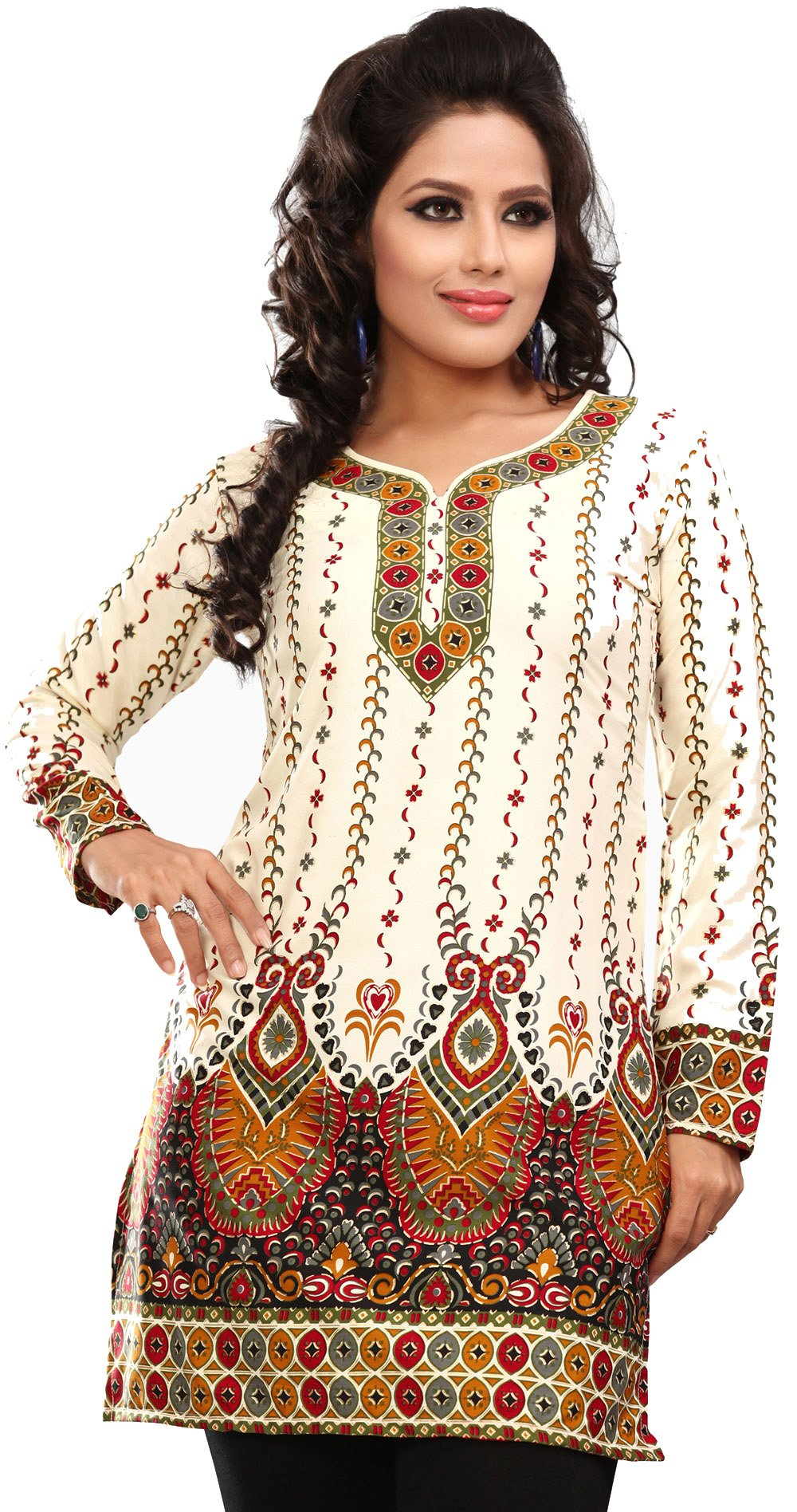 Women's Indian Kurti Top Tunic Printed Blouse India Clothes (Off White, M)