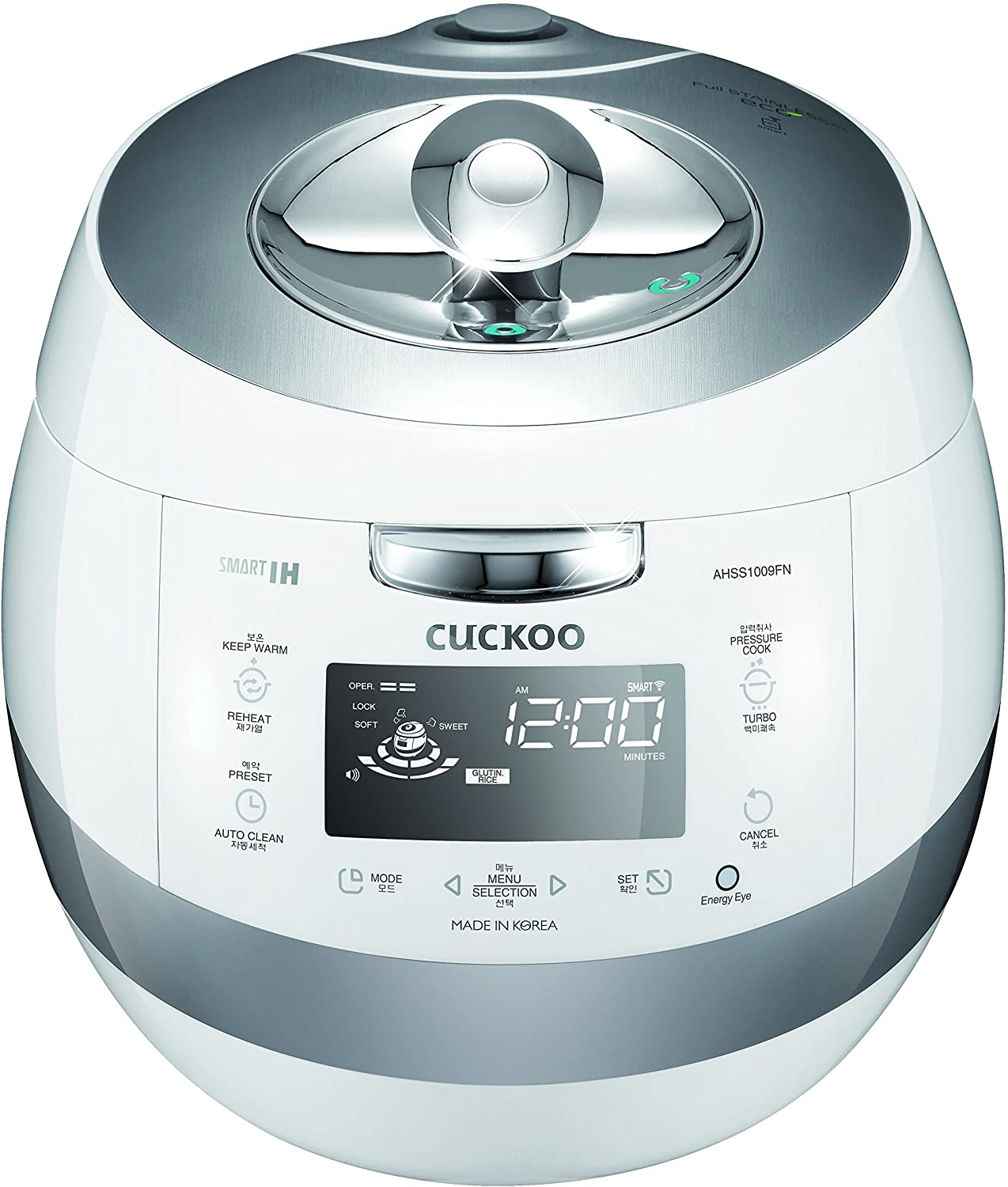 Cuckoo Electric Induction Heating Pressure Rice Cooker Stainless Steel Interior with Non-Stick Coating Fuzzy Logic and Intelligent Cooking, 10 Cup, White