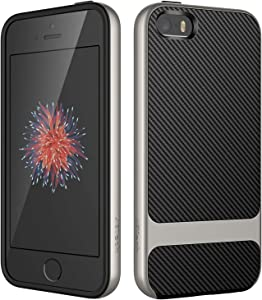 JETech Case for Apple iPhone SE (2016 Edition), iPhone 5s and iPhone 5, Slim Protective Cover with Shock-Absorption, Carbon Fiber Design, Grey