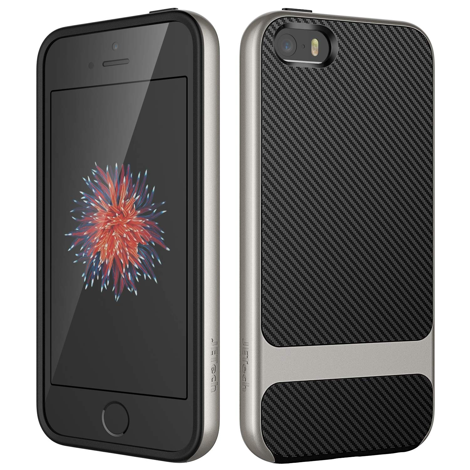 JETech Case for Apple iPhone SE 5s 5, Slim Protective Cover with Shock-Absorption, Carbon Fiber Design (Grey)