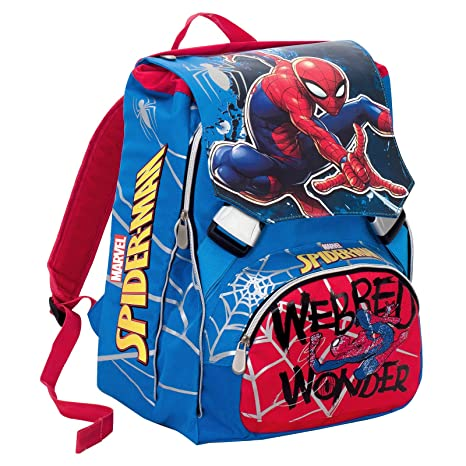 Mochila Escolar Extensible Marvel Ultimate Spiderman Webbed Wonder- Rojo -28 Lt , Gadget Integrado