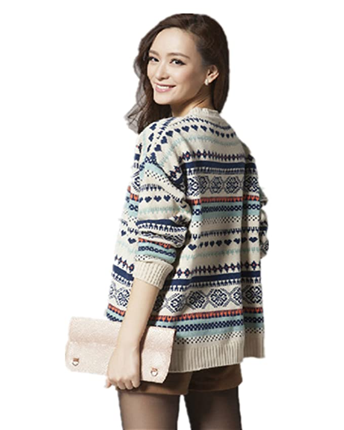 a0edfcc0aa60f Superbaby Women s Tribal Pattern Fair Isle Crew Neck Loose Pullover Sweater  (Beige) at Amazon Women s Clothing store