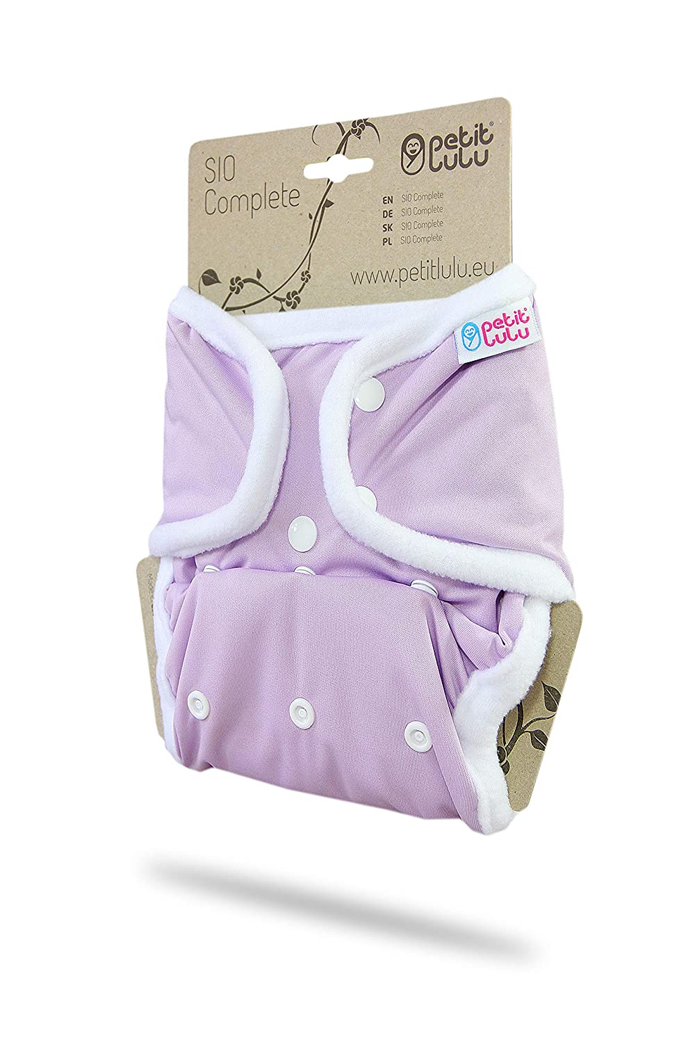 Lilac Reusable /& Washable | SIO Complete All in Two Cloth Nappies Made in Europe 9-33 lbs Snaps Petit Lulu AI2 Cloth Nappy One Size