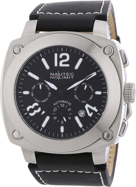 Nautec No Limit - Reloj analógico para Caballero de Cuero Negro