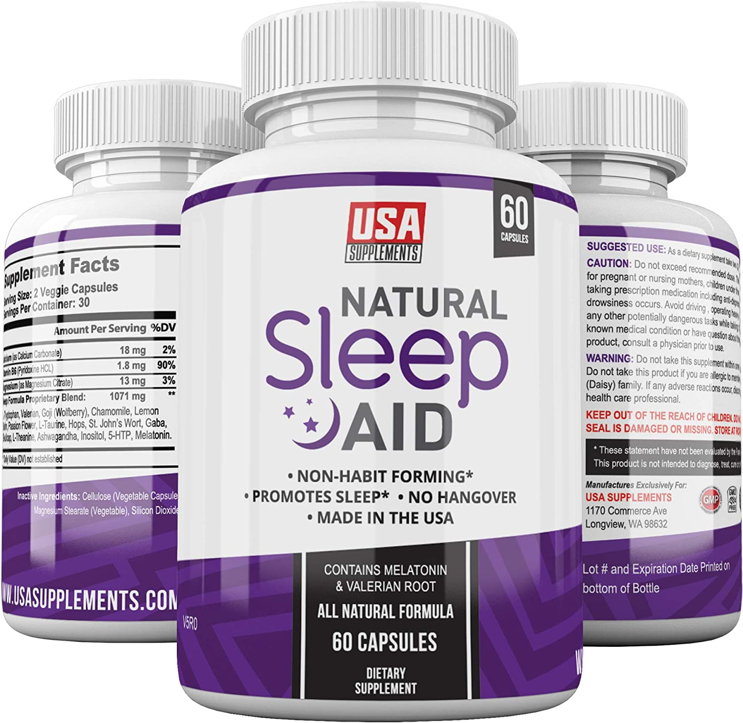 Natural Sleep Aid Pills - for Adults Extra Strength | Herbal Melatonin, Chamomile & Valerian Root Capsules | Adrenal Fatigue Support | Fast Stress, Anxiety & Insomnia Relief by USA Supplements