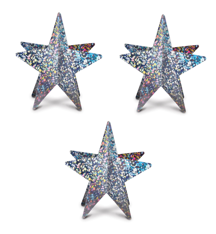 Beistle S57773SAZ3, 3 Piece 3-D Prismatic Star Centerpieces, 12'' (Silver)