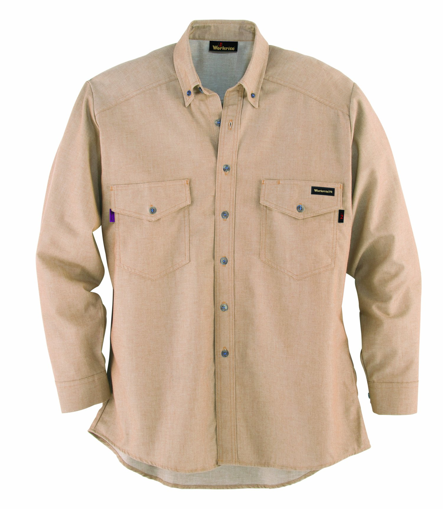 Workrite 288UT70KHLG-0L Flame Resistant 7 oz UltraSoft Long Sleeve Utility Shirt, Button Cuff, Large, Long Length, Khaki by Workrite (Image #1)
