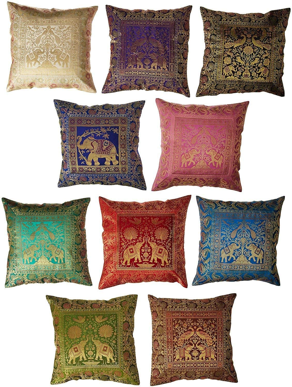 Indian Set of 10 16x16 inch (41x41 cm) Elephant Banarsi Silk Indian Ethnic Bohemian Decorative Cushion Cover Handcrafted Patchwork Sari Throw Pillow Boho Decor Cushion Covers for Gift (Silk Elephant)