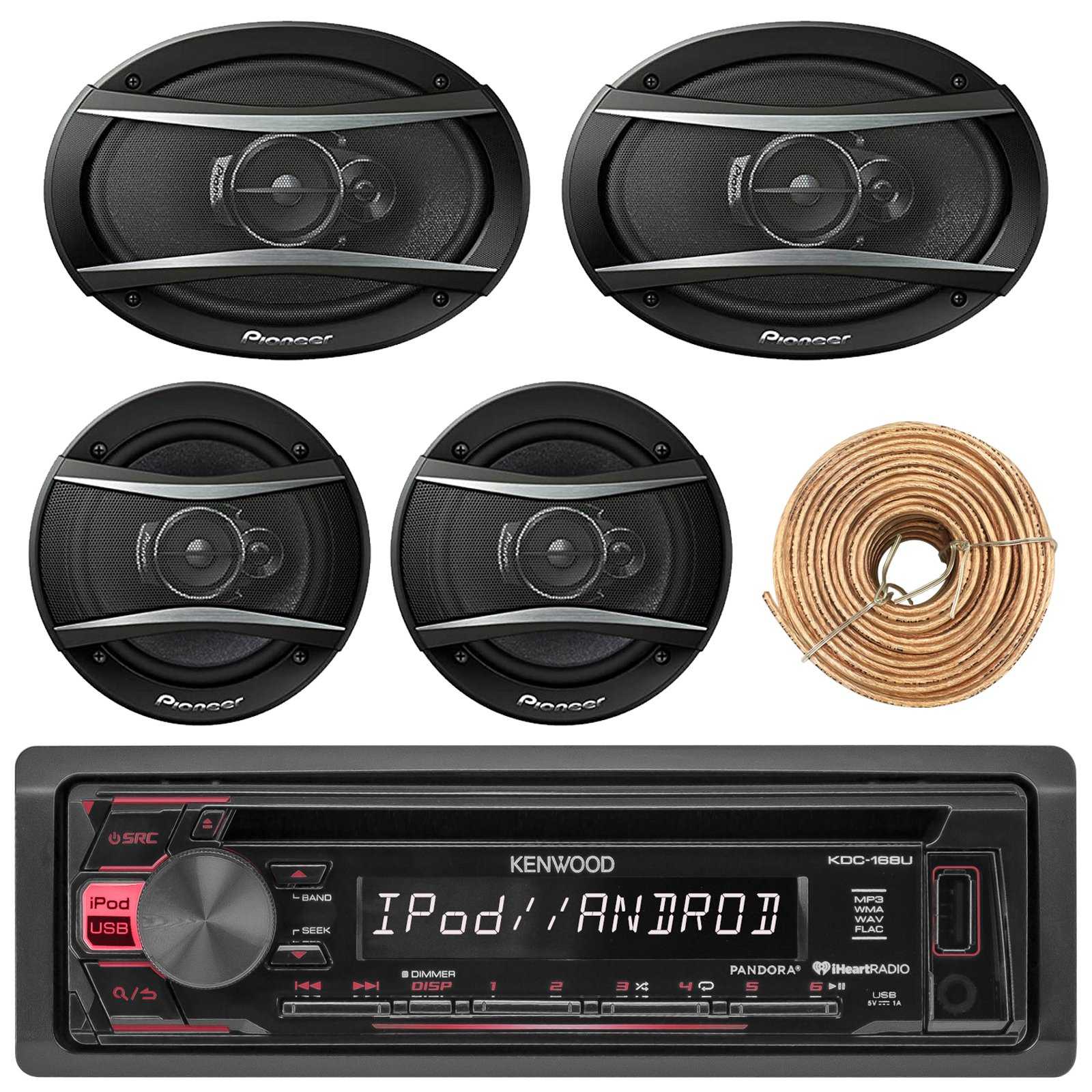 Kenewood KDC168U Car Radio USB AUX CD Player Receiver - Bundle With 2x TSA1676R 6.5'' 3-Way Car Audio Speakers - 2x 6.5''-6.75'' 4-Way Stereo Speaker + Enrock 50Ft 18 Gauge Speaker Wire