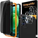 [2+2 Pack] UniqueMe Privacy Screen Protector Compatible For iPhone 12 Pro Max (6.7 inch) and Camera Lens Protector Tempered G