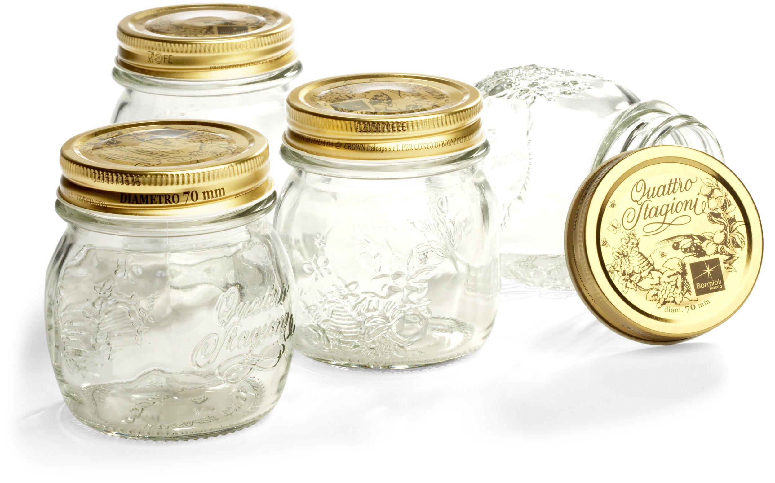 Bormioli Rocco Quattro Stagioni 8-1/2-Ounce 4-Piece Canning Jar Set, Gift Boxed by Bormioli Rocco