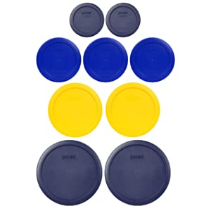 Pyrex (2) 7402-PC 6/7 Cup Blue (2) 7201-PC 4 Cup Meyer Yellow (3) 7200-PC 2 Cup Cadet Blue (2) 7202-PC 1 Cup Blue Replacement Food Storage Lids