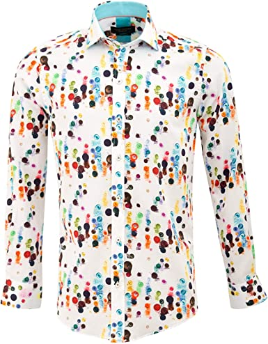 Guide London Black and White Pure Cotton Abstract Print Long Sleeve Mens Shirt 3XLarge Black//White