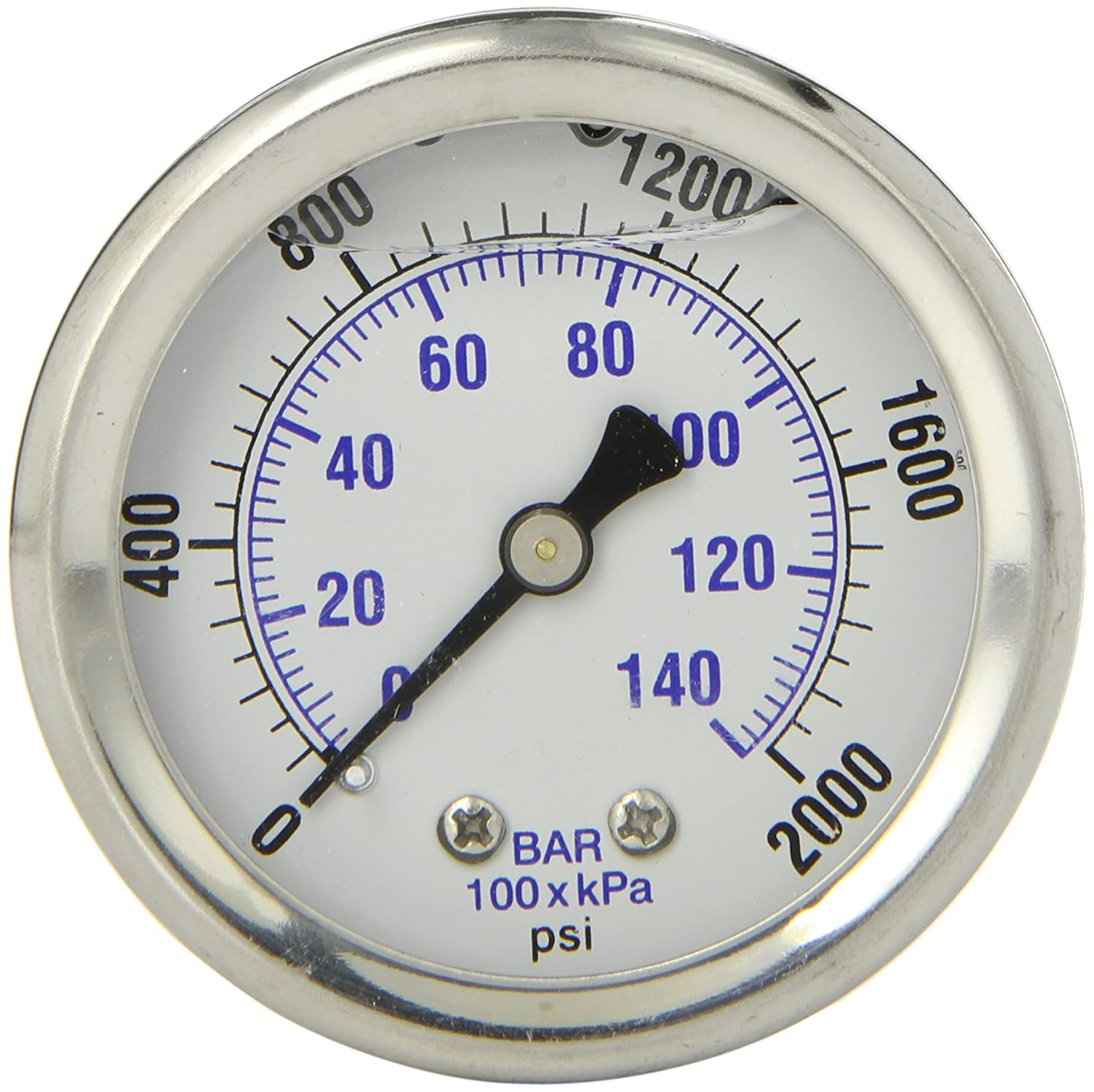 PIC Gauge 202L 204O 2 Dial 0 2000 psi Range 1 4 Male NPT Connection Size Center Back Mount Glycerine Filled Pressure Gauge with a Stainless Steel Case Brass Internals Stainless Steel Bezel and Polycarbonate Lens