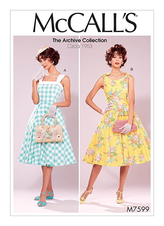 1950s Fabrics & Colors in Fashion 1953 MCCALLS M7599 Misses Lined Fit-and Flare Dresses with Petticoat (SIZE 6-14) SEWING PATTERN $9.50 AT vintagedancer.com
