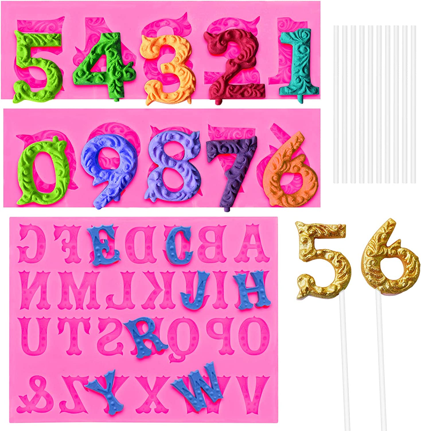 SelfTek Number 0-9 & Alphabet A-Z 3D Silicone Embossed Fondant Mold with 10Pcs Lollipop Sticks Candy Number Mold Letter Chocolate Mold Cake Decoration Tools for Birthday Party, Anniversary