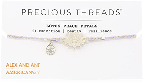 Alex and Ani Womens Precious Threads - Lotus Peace Petals Periwinkle Braid Bracelet