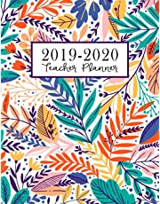 Teacher Planner: Lesson Plan for Class Organization | Weekly and Monthly Agenda | Academic Year August - July | Light Tropical Floral Print (2019-2020)