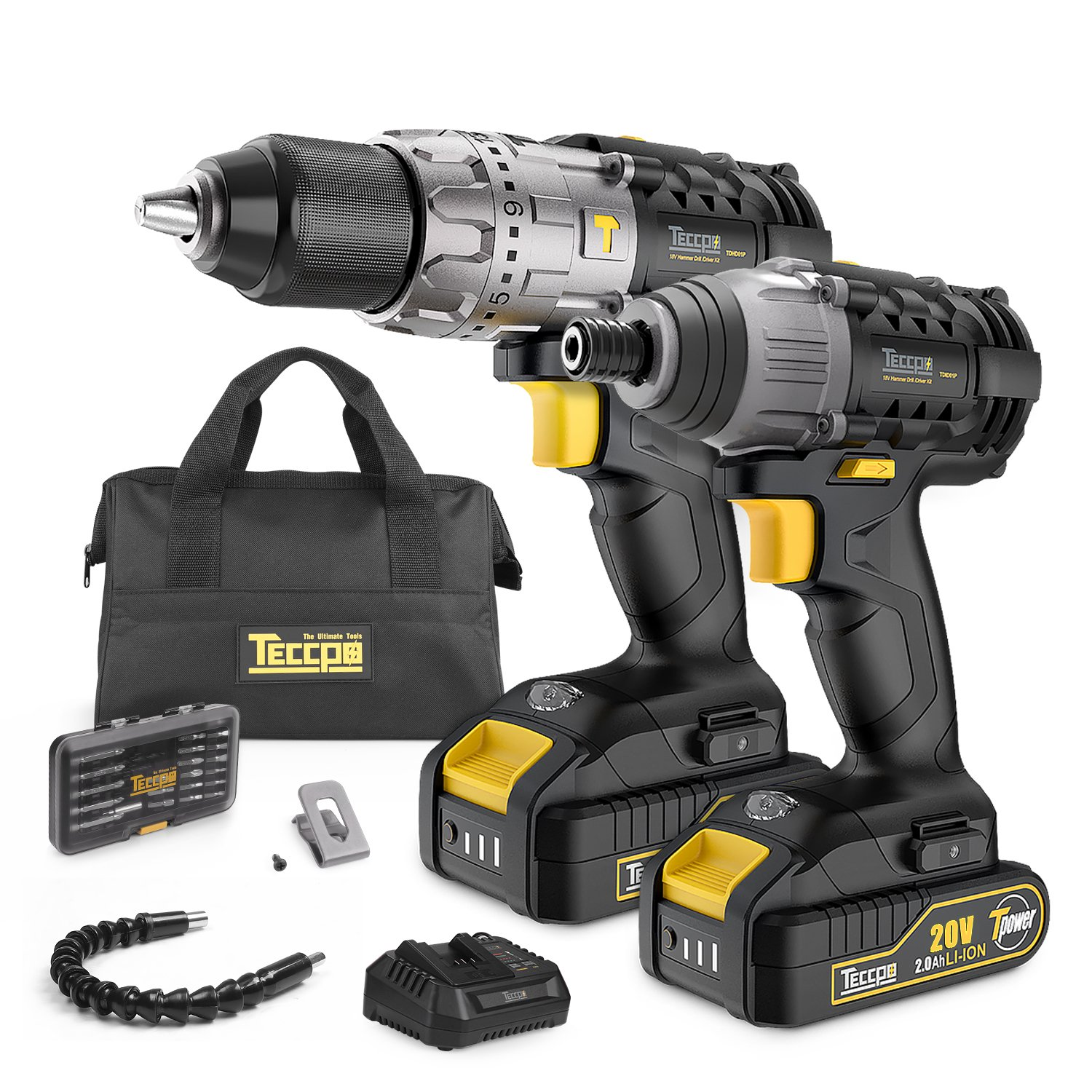 Combo Kit of TECCPO 20V Max TDHD01P Cordless Drill Driver 60Nm Max Torque, and TDID01P Impact Driver 180Nm Max Torque with 2x 2.0Ah Lithium-Ion Batteries, 30 Minute Fast Charger