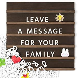 Mkono Letter Board with Letters and Numbers Wall Wood Sign Board 12 x 12 Inches Changeable Scrabble Tile Letters with Rustic Wooden Frame Home Wall Display Decor Baby Announcement Message Board