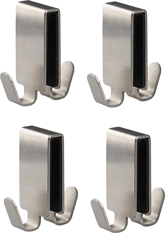 FACKELMANN - Gancho doble para mampara de cristal Tecno, toallero de acero inoxidable, gancho para colgar en la puerta de la ducha (color: plata), cantidad:, 4 unidades: Amazon.es: Hogar