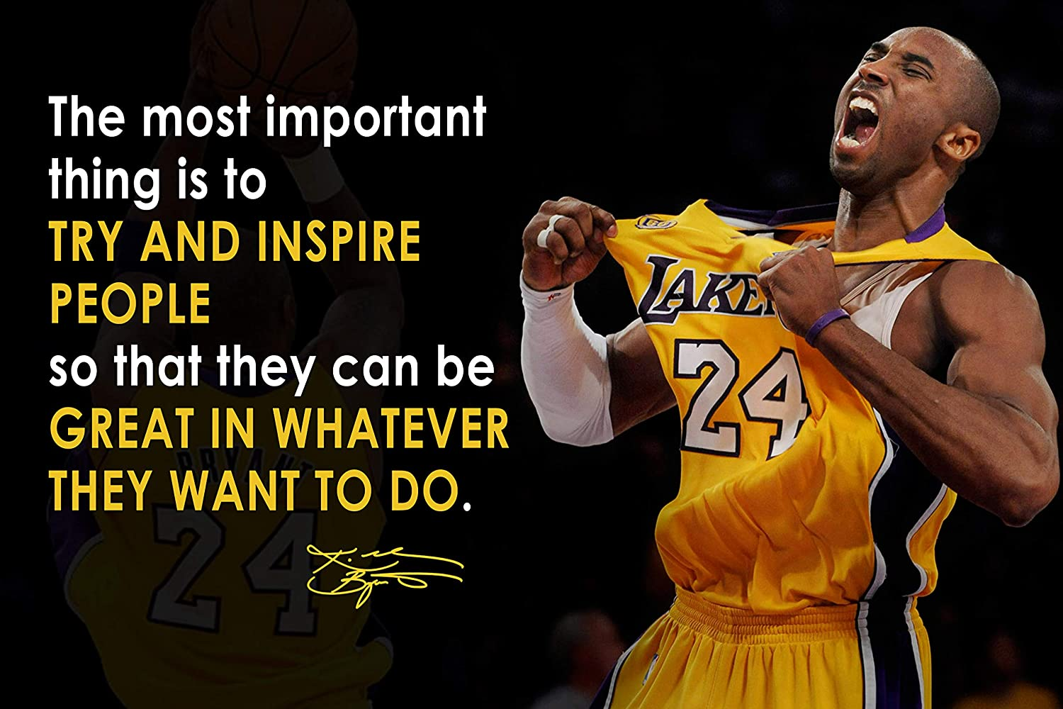 Kobe Bryant Poster Quote Black History Month Posters Los Angeles Lakers Quotes Basketball Sports Decor Coaching Wall Art Growth Mindset Teacher Educational Teaching Quotes Elementary P065