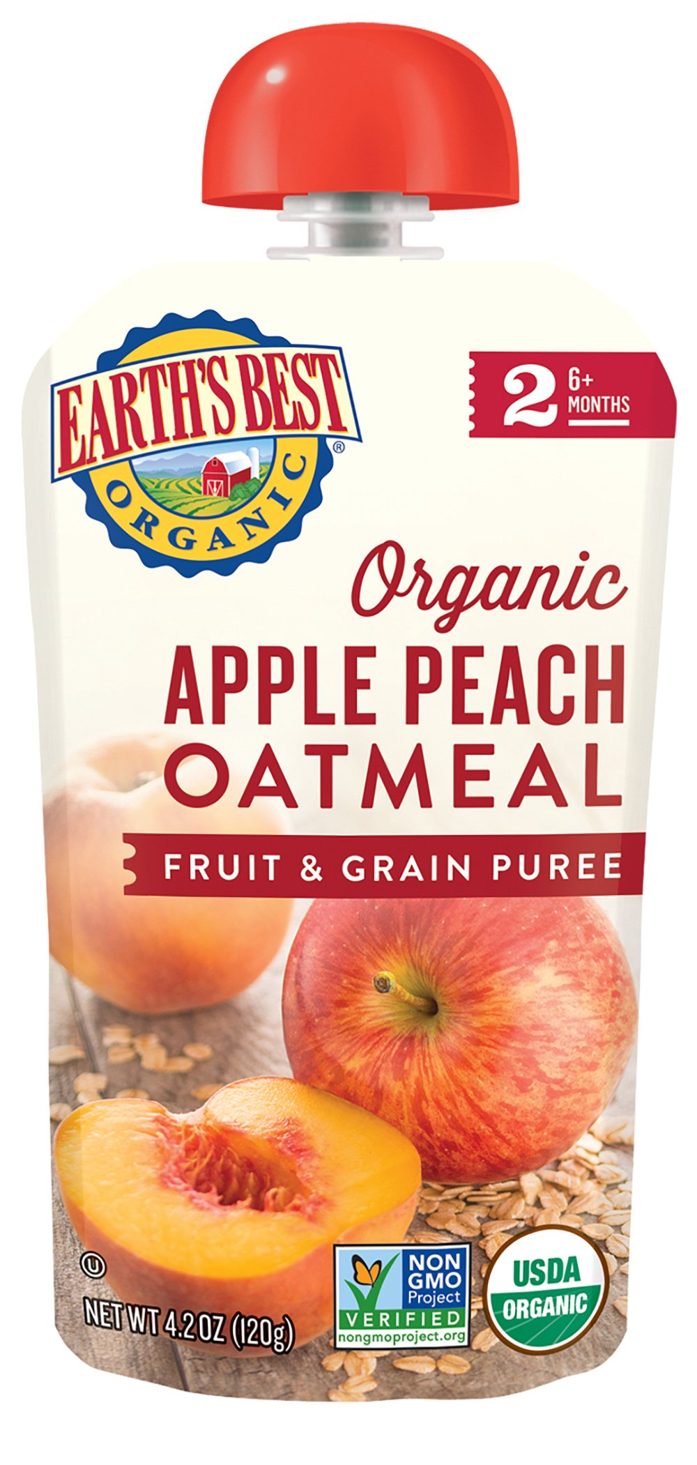 Earth's Best Organic Stage 2, Apple, Peach & Oatmeal, 4.2 Ounce Pouch (Pack of 12) (Packaging May Vary)