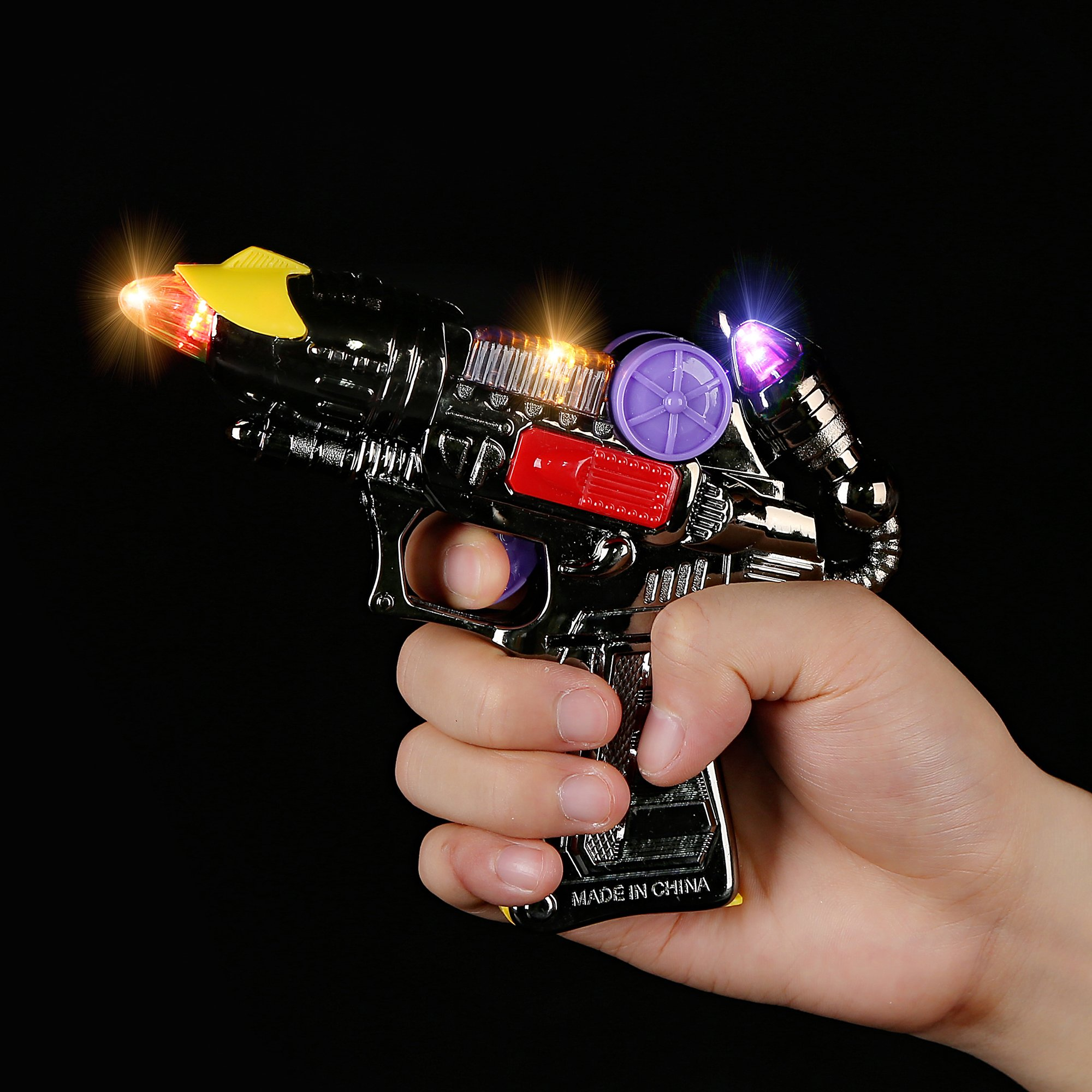 Fun Central AI267, 6 Pieces 5 Inches LED Light Up Mini Blaster Gun with Sound, LED Light Up Toys, Mini Toy Gun with Lights, Space Blaster Gun for Role Playing Games, Kids Outdoor Games