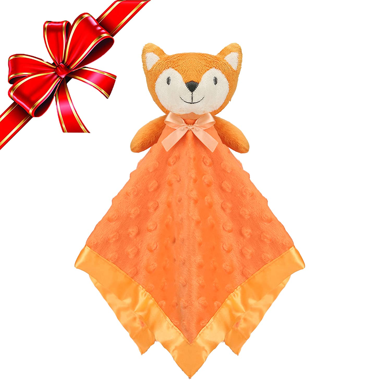 Pro Goleem Fox Security Blanket Orange Soft Baby Lovey Unisex Lovie Christmas Gift for Newborn Toddler 16 Inch