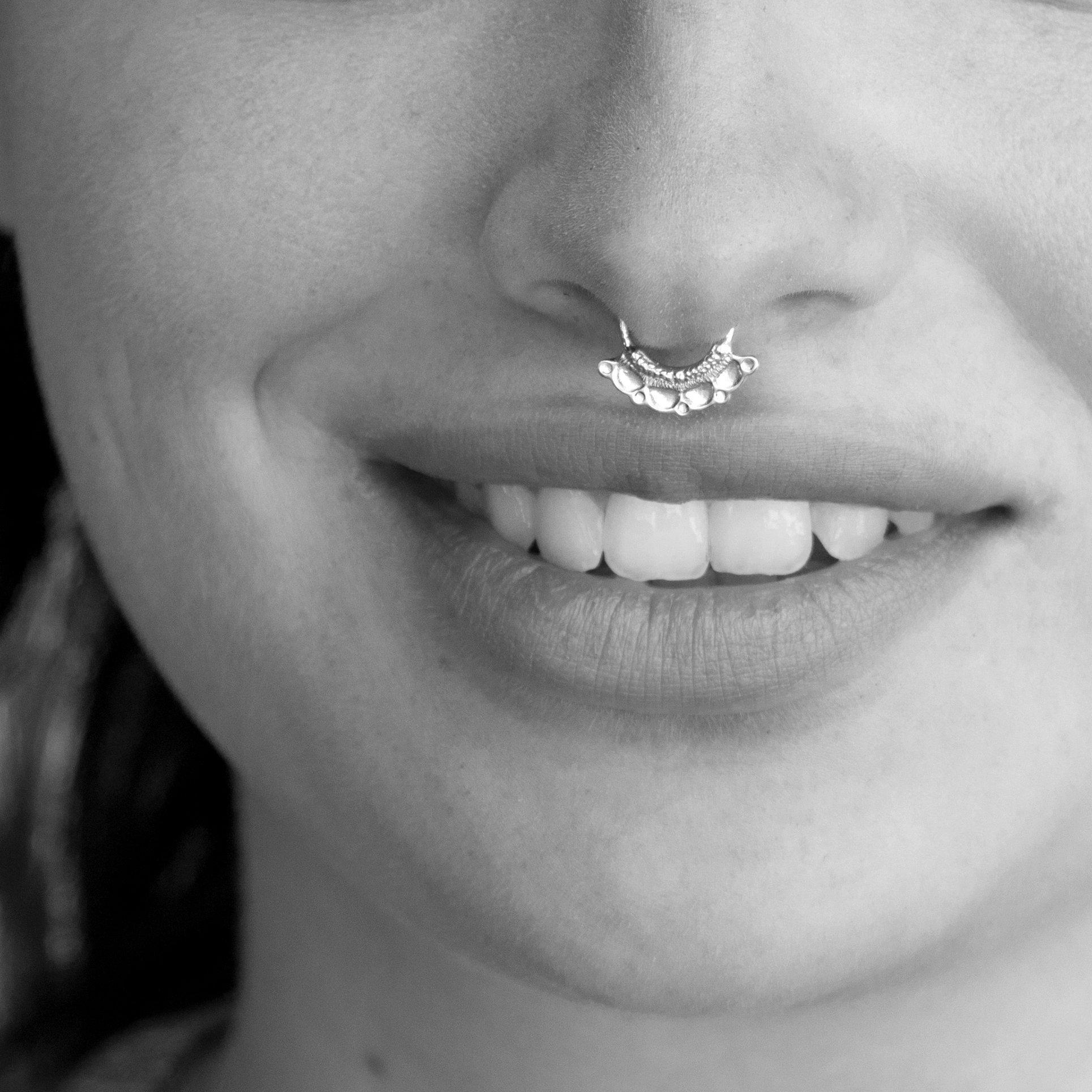 Septum Ring, Tribal 925 Sterling Silver Hoop Septum, Indian Nose Piercing Jewelry, Handmade Piercing Jewelry, 19g, Handmade Designer Jewelry