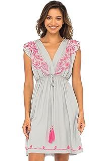 123aaa1d7a13 Back From Bali Womens Dress Boho Embroidered Sleeveless Summer Sundress  Deep V Neck Midi Short Dress