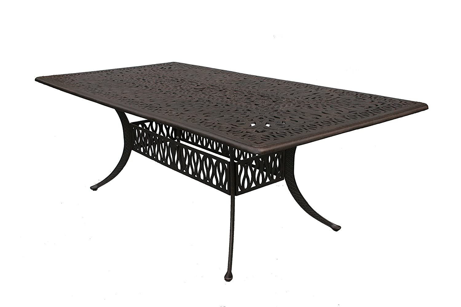 Darlee Elisabeth Cast Aluminum Rectangular Dining Table, 44 X 84 , Antique Bronze Finish