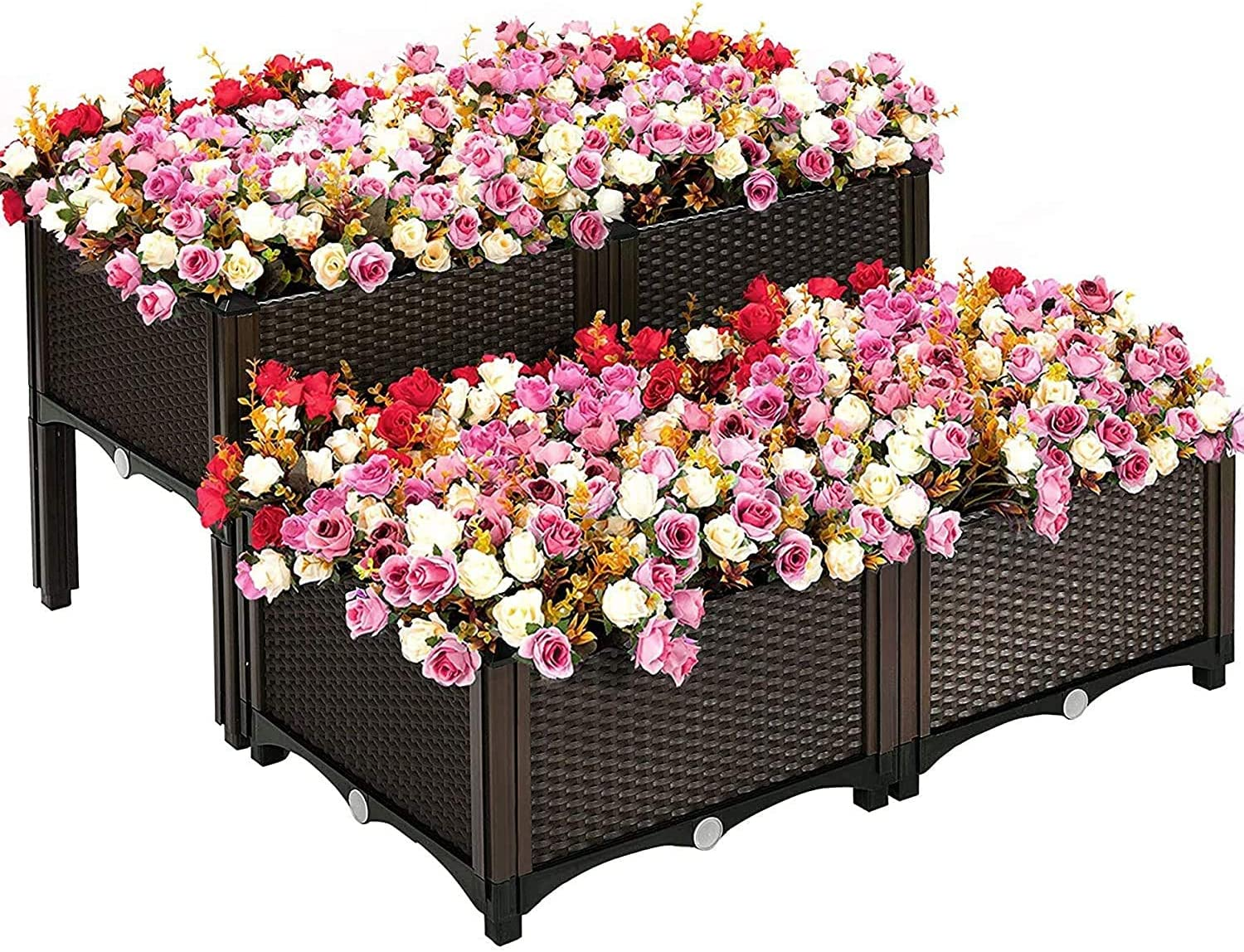Miyaya Set of 4 Elevated Raised Garden Bed Planter Box for Flowers Vegetables Fruits Herbs, Vegetables Plant Raised Bed Kits, Outdoor Indoor Planting Box Container for Garden Patio Balcony Restaurant